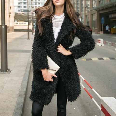 Long Sleeve Lapel Furry Long Coat Cardigan