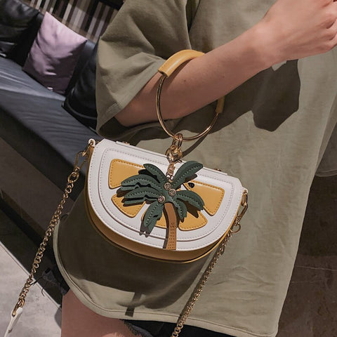 Watermelon & Lemon Metal Ring Saddle Bag Design Women Handbag Shoulder Bag Crossbody Mini Messenger Bag Totes Bag