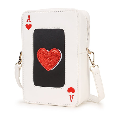 White Pu Leather Red Heart Poker Design Fashion Women Casual Shoulder Bag Tote Crossbody Bag Ladies Purses and Handbag