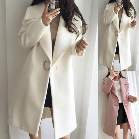 Winter Coat Women Long-sleeved Lapel Windbreaker Jacket Fashion Casual Loose Large Size Solid Color Cashmere Warm Long Coat