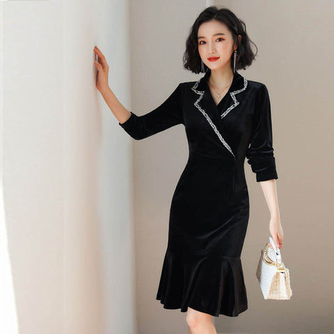 Women Long Sleeve Velvet Vintage Bodycon Dress