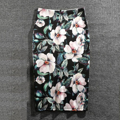 Women Summer Print Flowers Knee-Length Plus Size Pencil Skirt