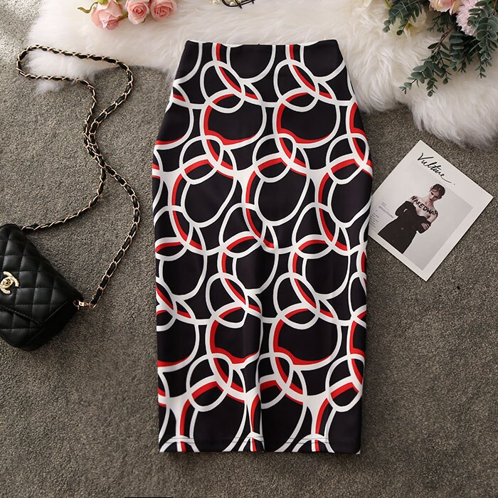 Summer Print Flowers Knee-Length Plus Size Pencil Skirt