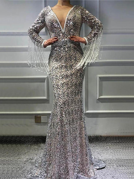 Lady sexy sequin deep v-neck dress