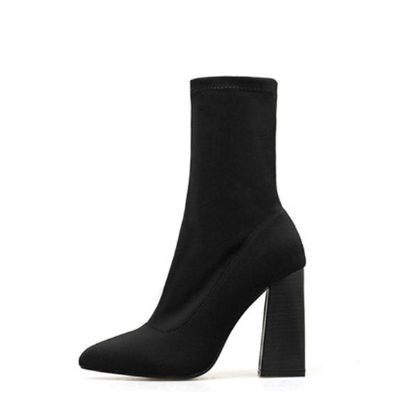 Pointed Toe Chunky Heel Plain Slip-On Western Cotton Boots