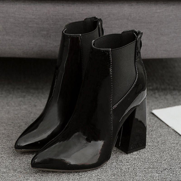 Chunky Heel Back Zip Pointed Toe Plain Western PU Boots