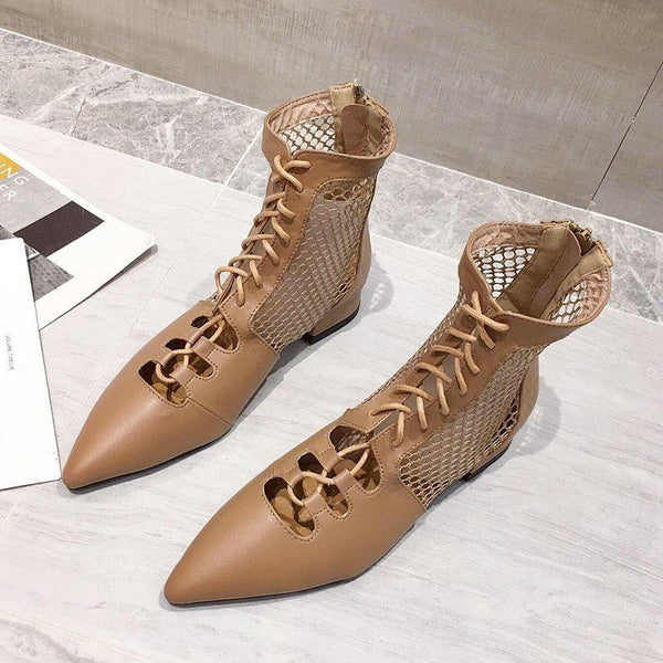 Lace-Up Front Chunky Heel Pointed Toe Hollow PU Boots