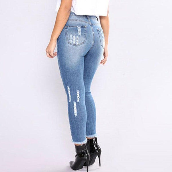 Mid Waist Hole Denim Women's Pants
