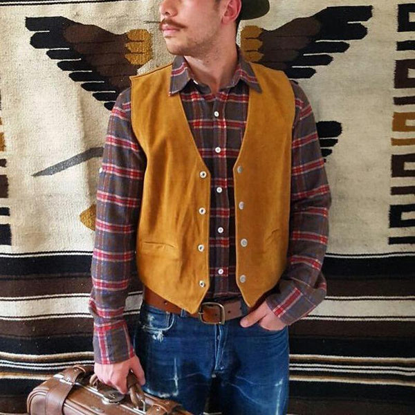 Fashion Men Gentleman Solid Color Vest