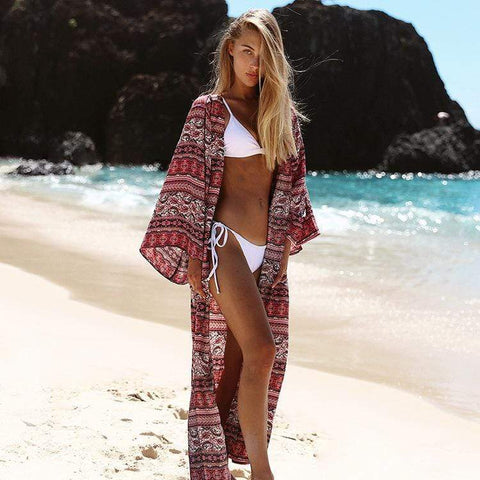 Long Boho Beach Cover Up