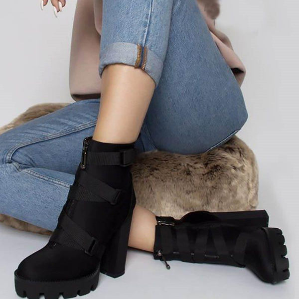 Plain Chunky Heel Round Toe Side Zipper Western Cotton Boots