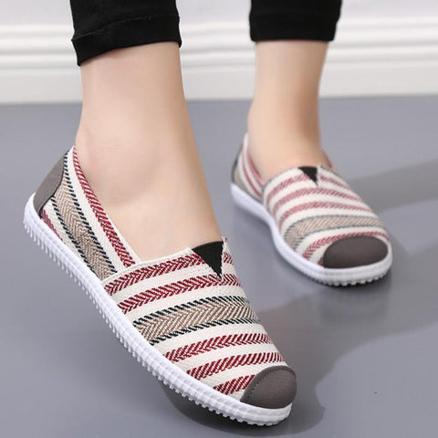 Slip On Round Toe Flat Canvas Casual Loafers