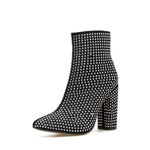 Pointed Toe Side Zipper Chunky Heel Plain Casual Rivet Boots