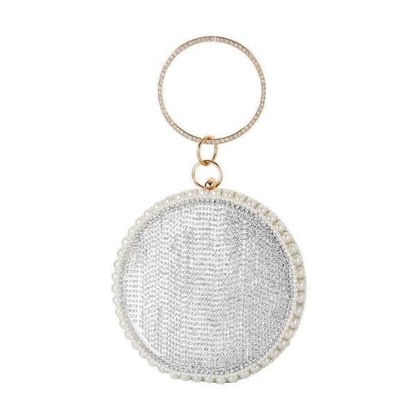 Fashion ladies luxury round rhinestone banquet bag