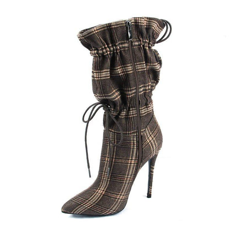 Stiletto Heel Elastic Plaid Pointed Toe Thread Casual Boots