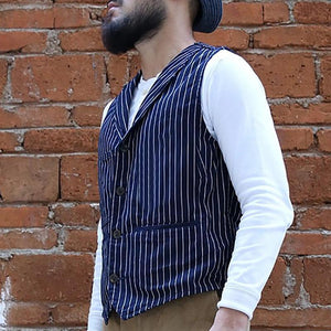 Streetwear Striped V Neck Men Vest