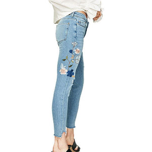 Embroidery Sequins Mid Waist Women's Pants