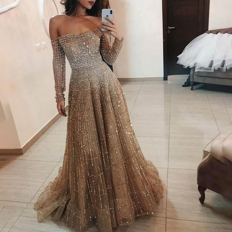 Sexy Off-the-shoulder Sparkling Long-sleeved Evening Dress
