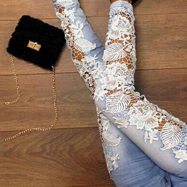 Plus Size Mid Waist Patchwork Lace Women's Pants