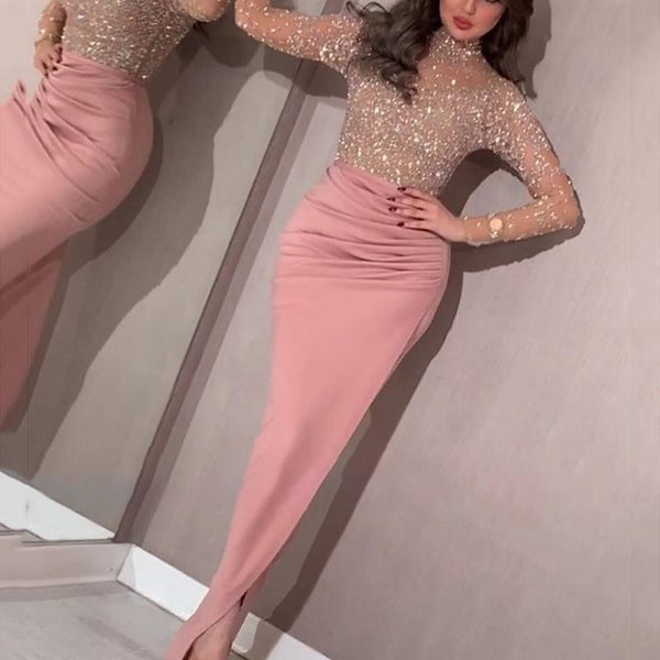 Fashion colorblock sequined slim dress