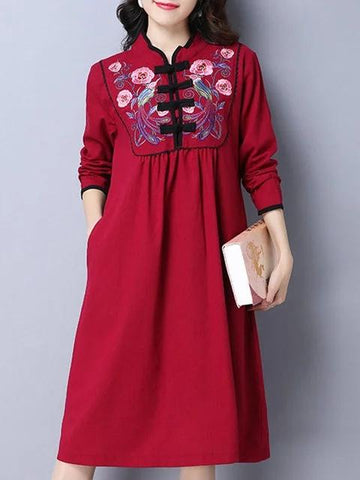 Stand Collar Women Daily Long Sleeve Cotton Vintage Dress