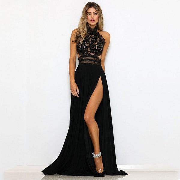 Halter Neck Lace Crochet Evening Maxi Long Dress