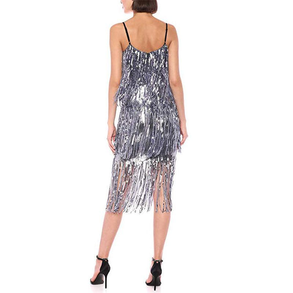 Fashion Spaghetti Strap Glitter Evening Dress