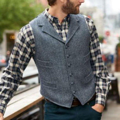 British Style Fold Collar Single-breasted Pocket Men's Vest