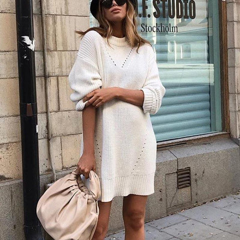 Round Neck Knit Long Sleeve Dress