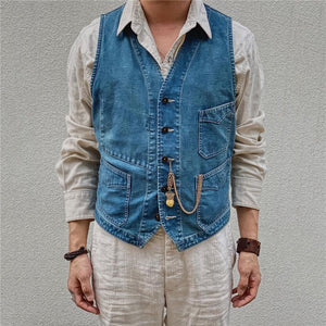 Men's fashion solid color single-breasted denim vest