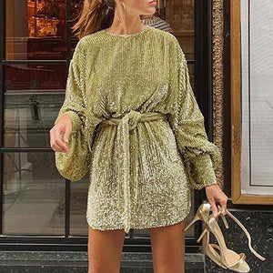 Fashionable round neck long sleeve solid color dress