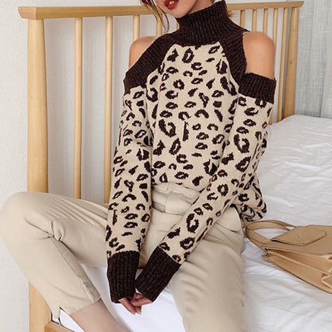 Sexy Halter Collar Print Colorblock Sweater