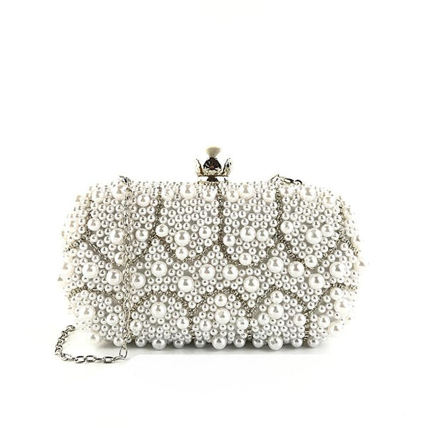 Fashion ladies handmade pearl chain banquet bag