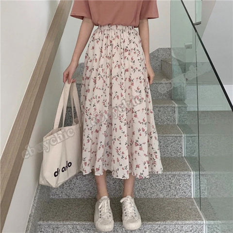 2020 Spring Summer White Floral High Waist Elastic Vintage Streetwear Loose Chiffon Skirt