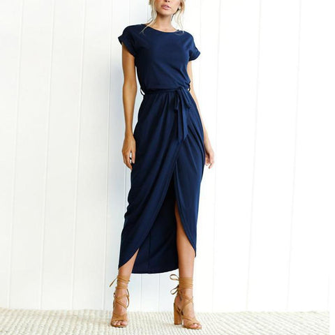 EBUYCHIC Random Elegant Short Sleeves Splited Hem Midi Dresses