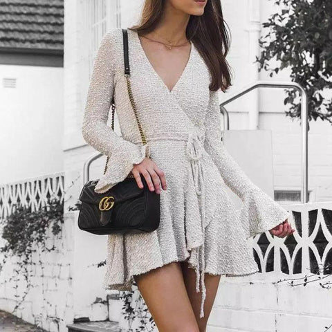 Fashion Deep V Long Sleeve Lace Dress