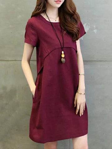Women A-line Daily Basic Cotton Pockets Solid Dress