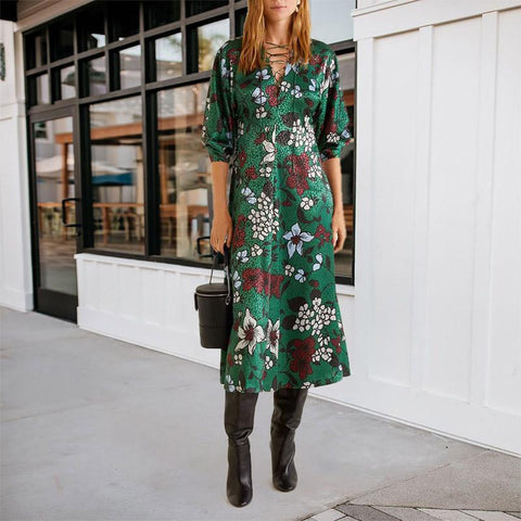 Round Neck Green Flower Long Sleeve Dress