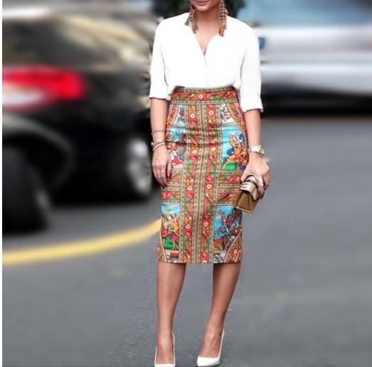 V-Neck Stripe Blouse With Vintage Printed Skirt Fall/Winter Two-Piece Set