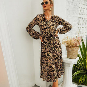 Autumn Mid-Length Printed Leaopard V-neck Women Dress