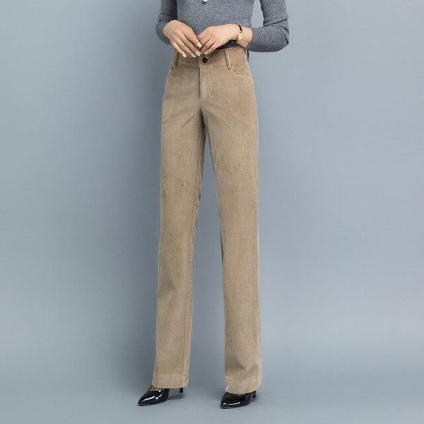 Women Vintage Autumn Winter Casual Thicken Warm Corduroy Pants