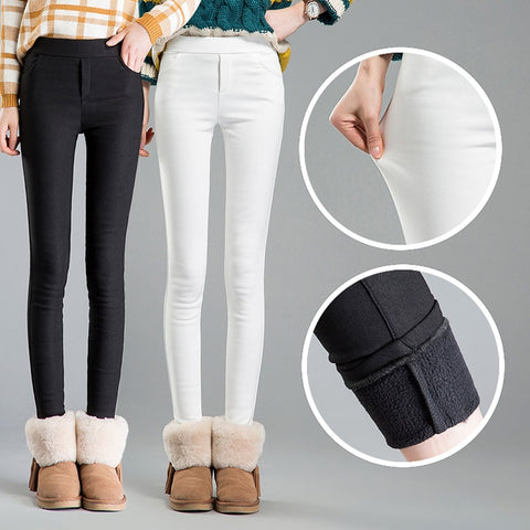High waist women 2019 Winter warm velvet office work pencil pants