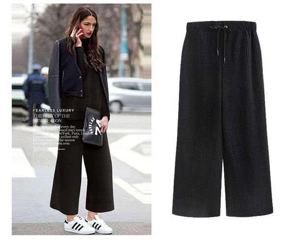 Winter Woolen Pleated Pants Women Elastic Waist Loose Pants