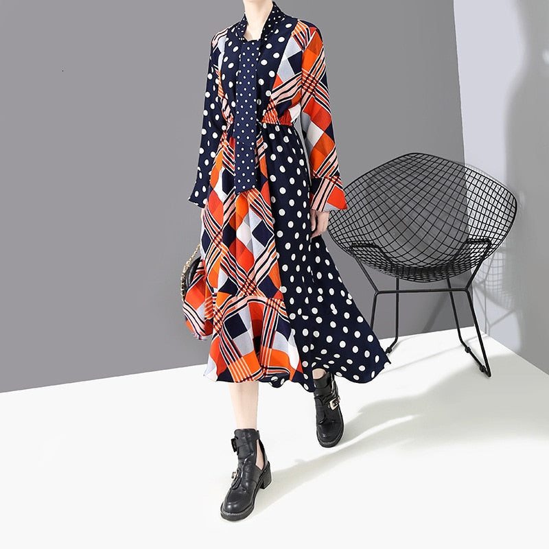 Women Dot Printed Split Joint Stand Collar Long Dress