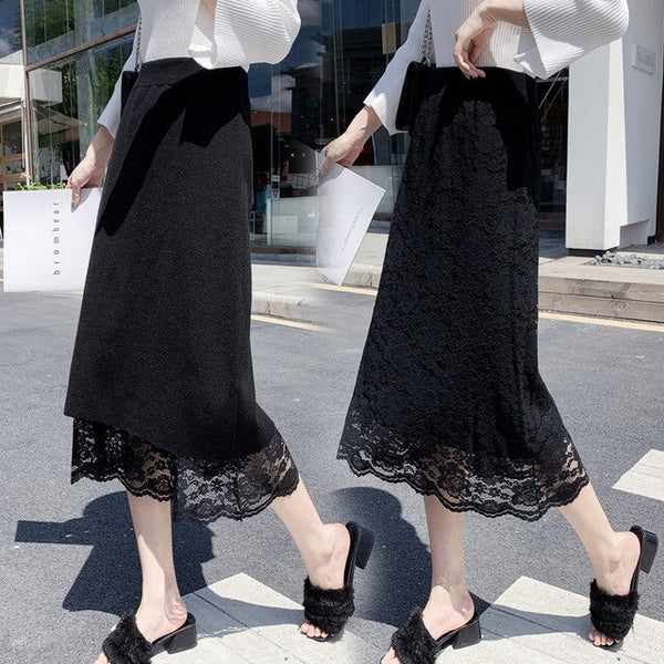 Winter Skirts Womens Knitted Skirt Lace Long Gauze Skirt