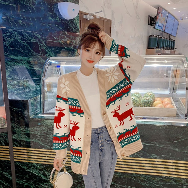 Thick V-Neck Button Female Cardigans Deer Christmas