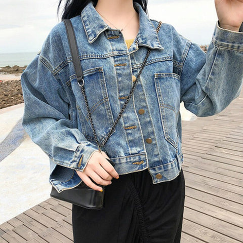 Spring and Autumn Pocket Decorative Loose Fit Jacket