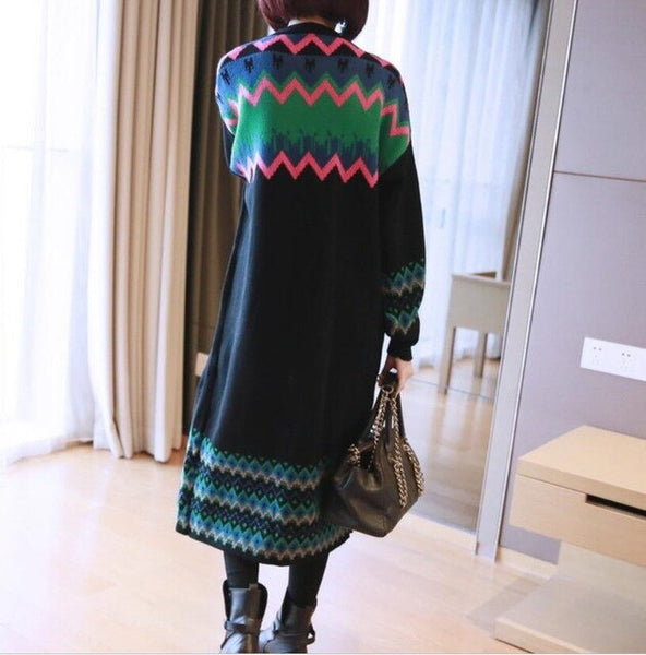 Fashion Genuine Medium Long Loose Knit Cardigan