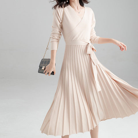 Knitted Pleated Slim Women's Dress