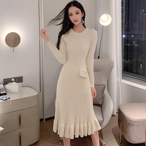 New Robe Ruffled Side Hip Over Knee Knit Sweater Dress